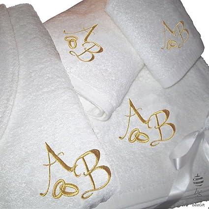 BgEurope 5 Estrellas Top Calidad Personalizada Regalo de Boda Aniversario – Juego de Toallas de baño