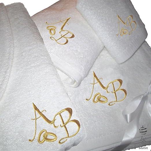 BgEurope 5 Estrellas Top Calidad Personalizada Regalo de Boda Aniversario - Juego de Toallas de baño y Albornoz con Bordado de Oro, 100% algodón, Blanco, ...