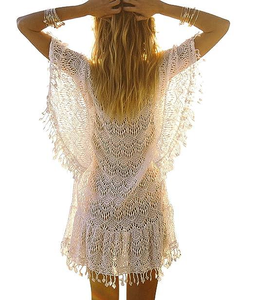 eac3980c7a3fa Sanifer Women's Lace Crochet Bikini Cover Up Dresses Swimsuit Cover Ups  Beach Mini Dress (One Size, White) at Amazon Women's Clothing store: