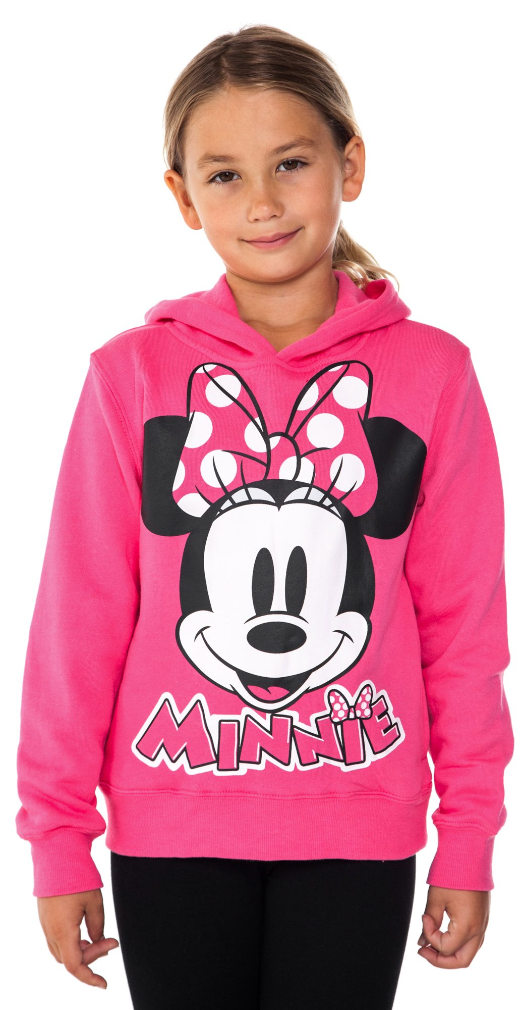Disney Girls Minnie Mouse Pied Fleece Hoodie (Small, Pink)