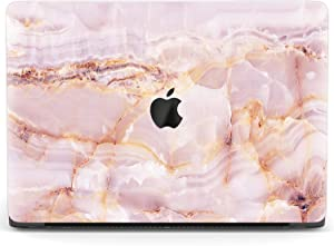 Mertak Hard Case Compatible with MacBook Pro 16 Air 13 inch Mac 15 Retina 12 11 2020 2019 2018 2017 Protective Laptop Shell Luxury Quartz Pink Marble Rose Gold Blush Cover Stone Print Touch Bar