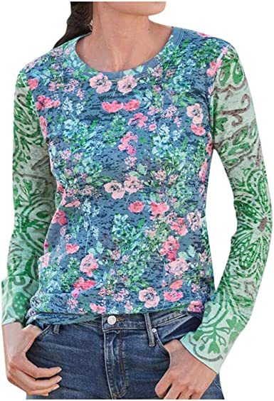 NANTE Top Womens Blouses Boho Floral Print Loose Long Sleeve T-Shirt Plus Size Tees Ladies Baggy Tunic Tops