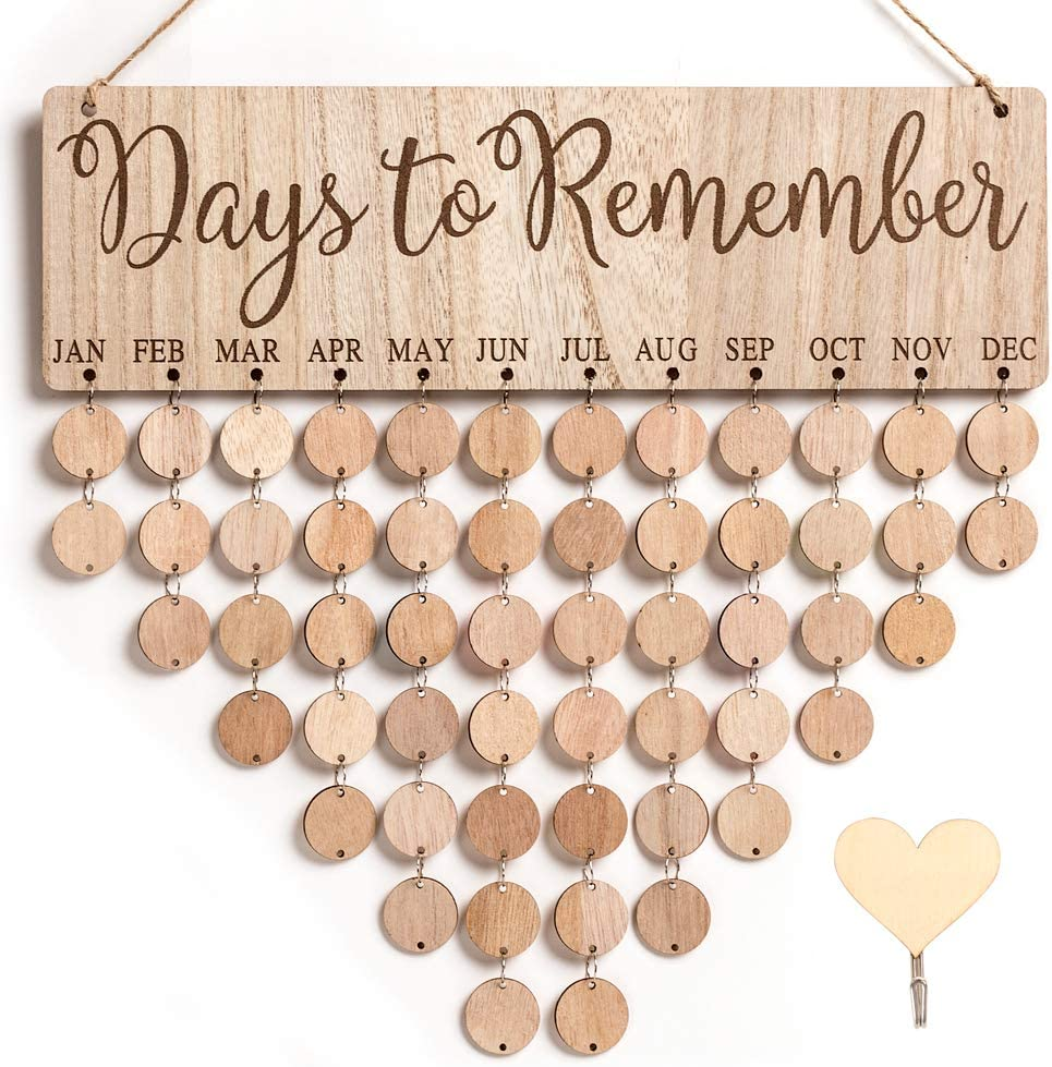 MACTING Family Birthday Board DIY Hanging Wooden Birthday Reminder Calendar Important Dates Tracker Home Decor Plaque Wall Hanging Family Decor Plaque