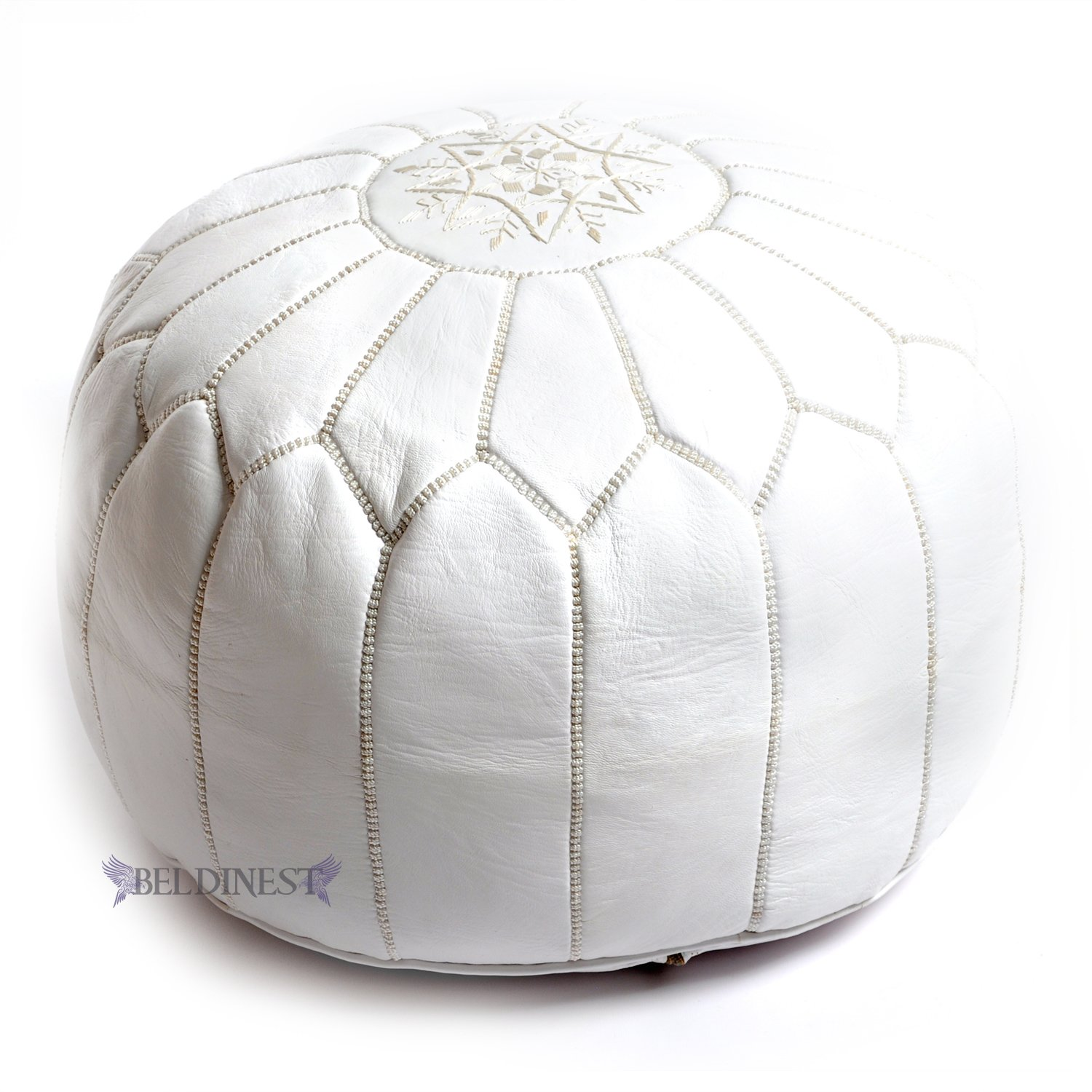 competitive price 4ce42 d7762 BeldiNest Moroccan Pouf Ottoman Leather Pouf Round Ottoman Leather Pouf,  Perfect Home Ottoman Footrest | White Leather Pouf