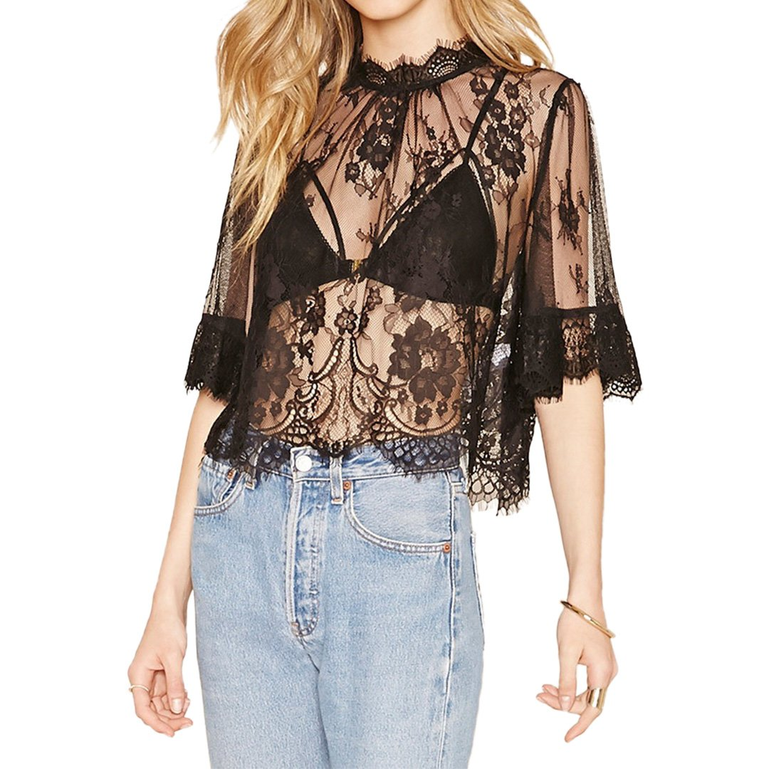 Hoohu Women's Summer Sexy Sheer Lace Tassel Floral Embroidery Bikini Beach Cover up Tank Top Camisole T-Shirt