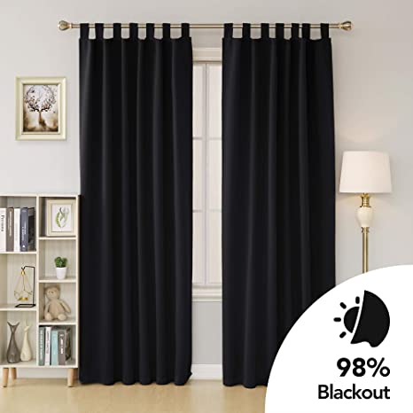 Black Room Darkening Curtains.Deconovo Thermal Insulated Window Treatment Room Darkening Curtains Tab Top Blackout Curtains For Bedroom With Matching Tie Back 46 X 54 Inch Black 2