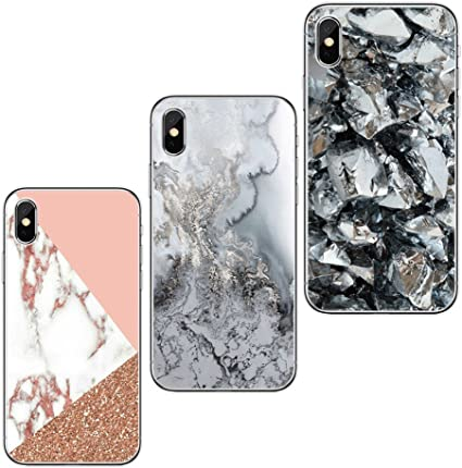 Freessom Lot de 3 Coque iPhone 6/6s Marbre Rose Gold Noir Triangle Silicone Rigide Bleu Motif Souple Fantaisie Fine Anti Choc Cadeau Pas Cher