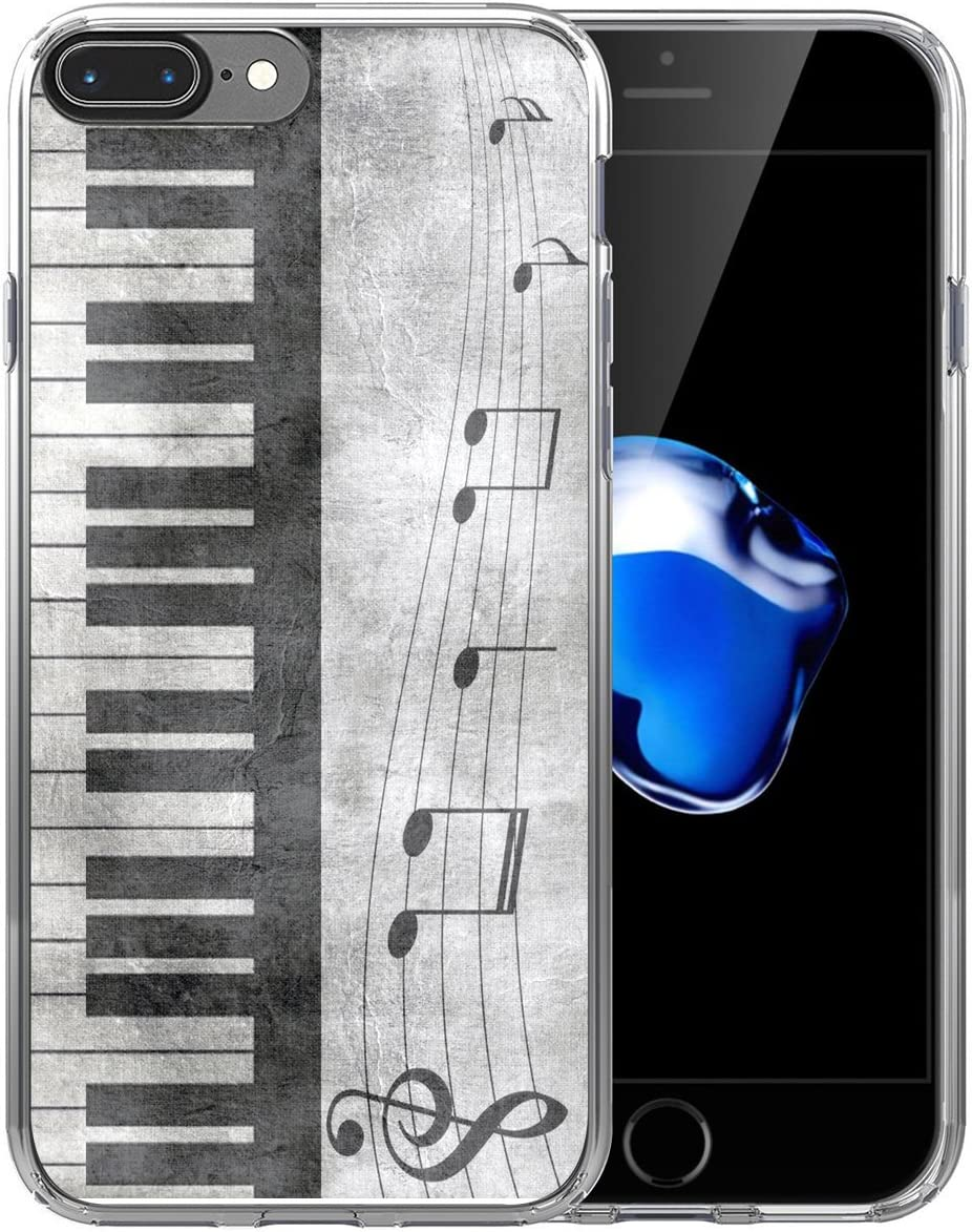 8 Plus Case Music/IWONE Cute Non Slip Rubber Durable Protective Replacement Skin Cover Patterned Compatible with iPhone 7/8 Plus + Retro Musical Piano Music Note Design