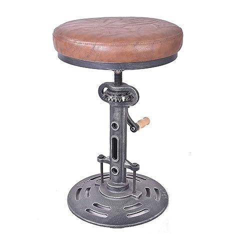 Remarkable Topower American Antique Industrial Diy Crank Stool Cast Iron Base Bar Stool Design Metal Adjustable Height Bar Chair Pu Seat Surface Machost Co Dining Chair Design Ideas Machostcouk