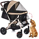 HPZ Pet Rover XL Extra-Long Premium Heavy Duty Dog/Cat/Pet Stroller Travel Carriage with Convertible Compartment/Zipperless E