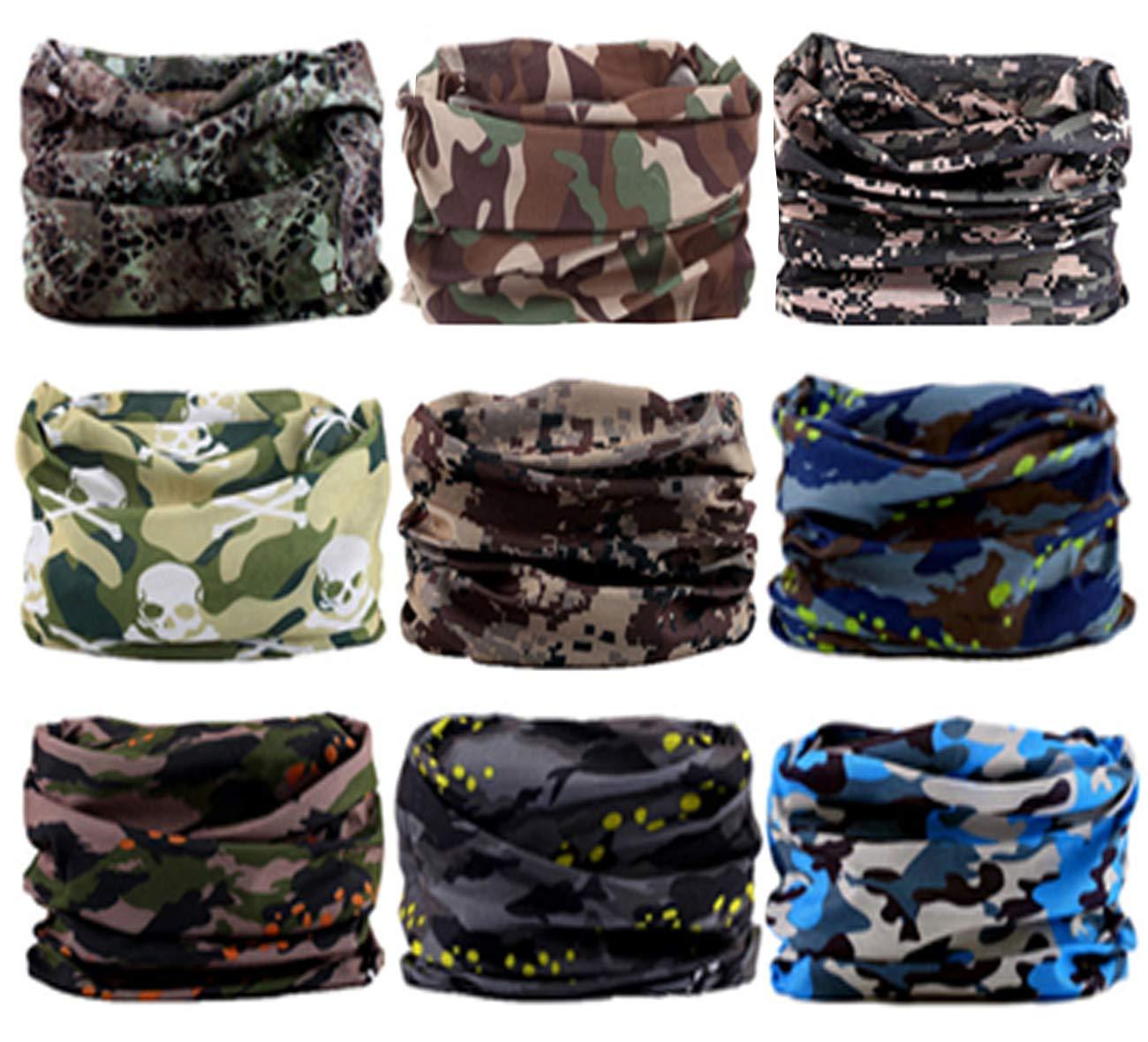 SmilerSmile 6pcs Assorted Seamless Outdoor Sport Bandanna Headwrap Scarf Wrap, 12 in 2 High Elastic Magic Headband & Collars Muffler Scarf Face Mask UV Resistance(14 Camo A)
