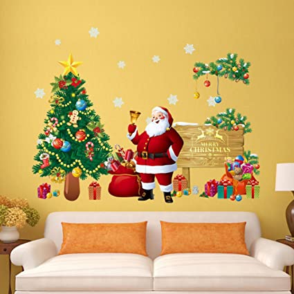 santa claus christmas tree gifts wall decals kids living room bedroom shop window removable wall stickers - Christmas Wall Art Decor