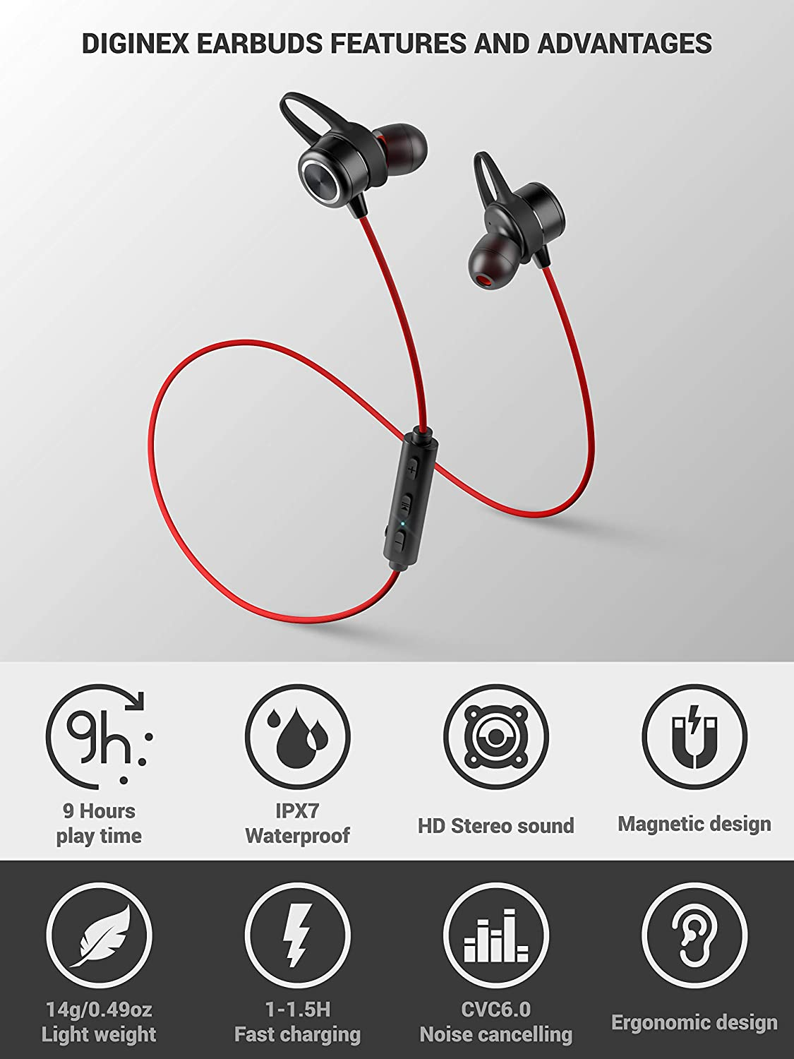 Wireless Magnetic Headset Bluetooth Earbuds Sport Earphones for Running Diginex 9 Hours Playtime Noise Cancelling Mic IPX7 Waterproof Headphones Stereo Sound 1 Hour Recharge Red