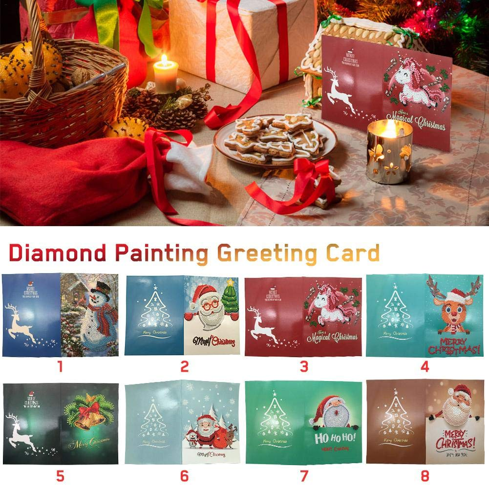 Merry Christmas Card, 5D DIY Diamond Painting Greeting Cards, 1Pc Thank You Card Handmade Cards Cute Pattern Santa Claus Deer Without Frame(13 * 18cm) Sue Supply