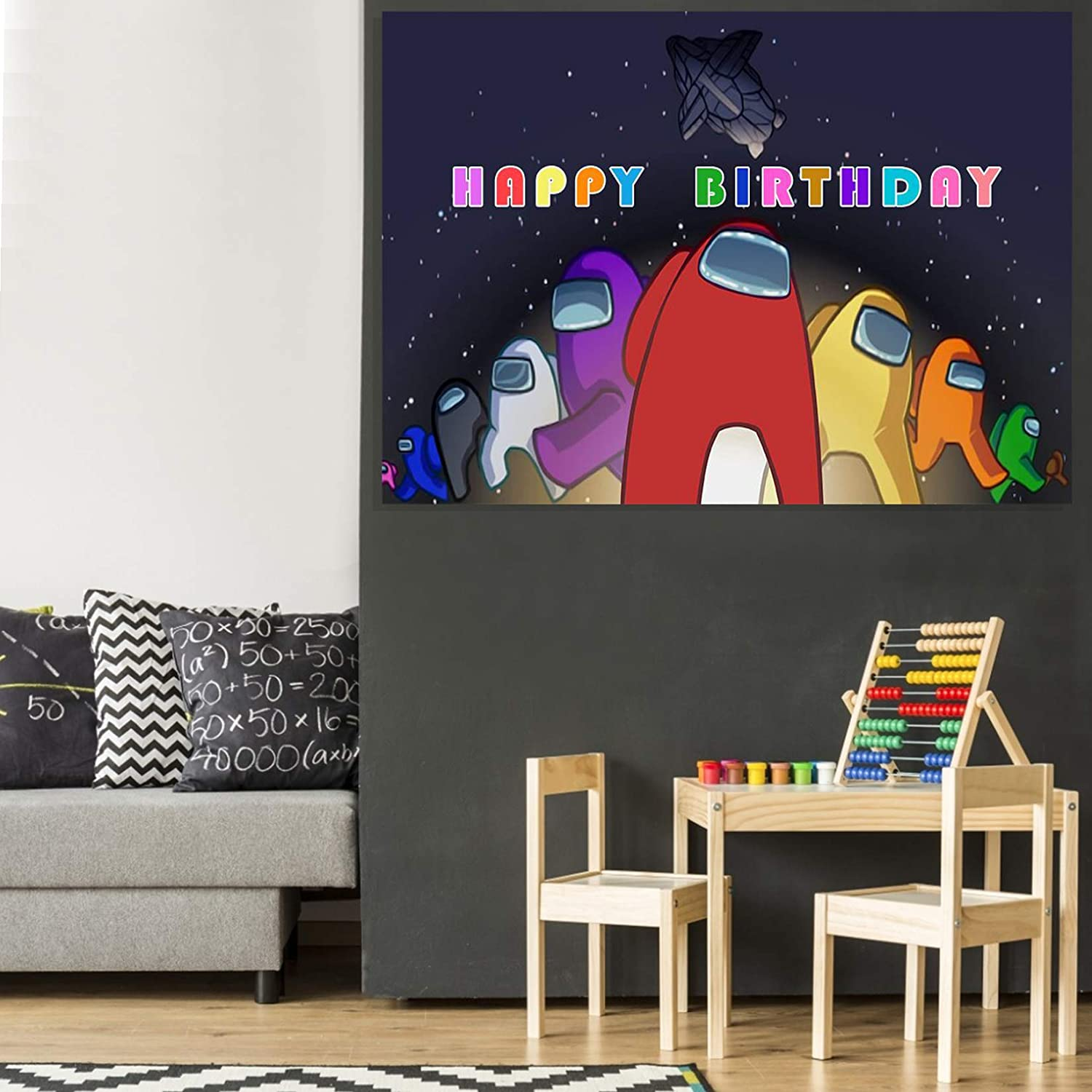 Pixel Happy Birthday Backdrop,Among Us Game Background Banner for Men Boy Kids/' Game Theme Birthday Party Decoration Among Us Birthday Decoration 5x3ft