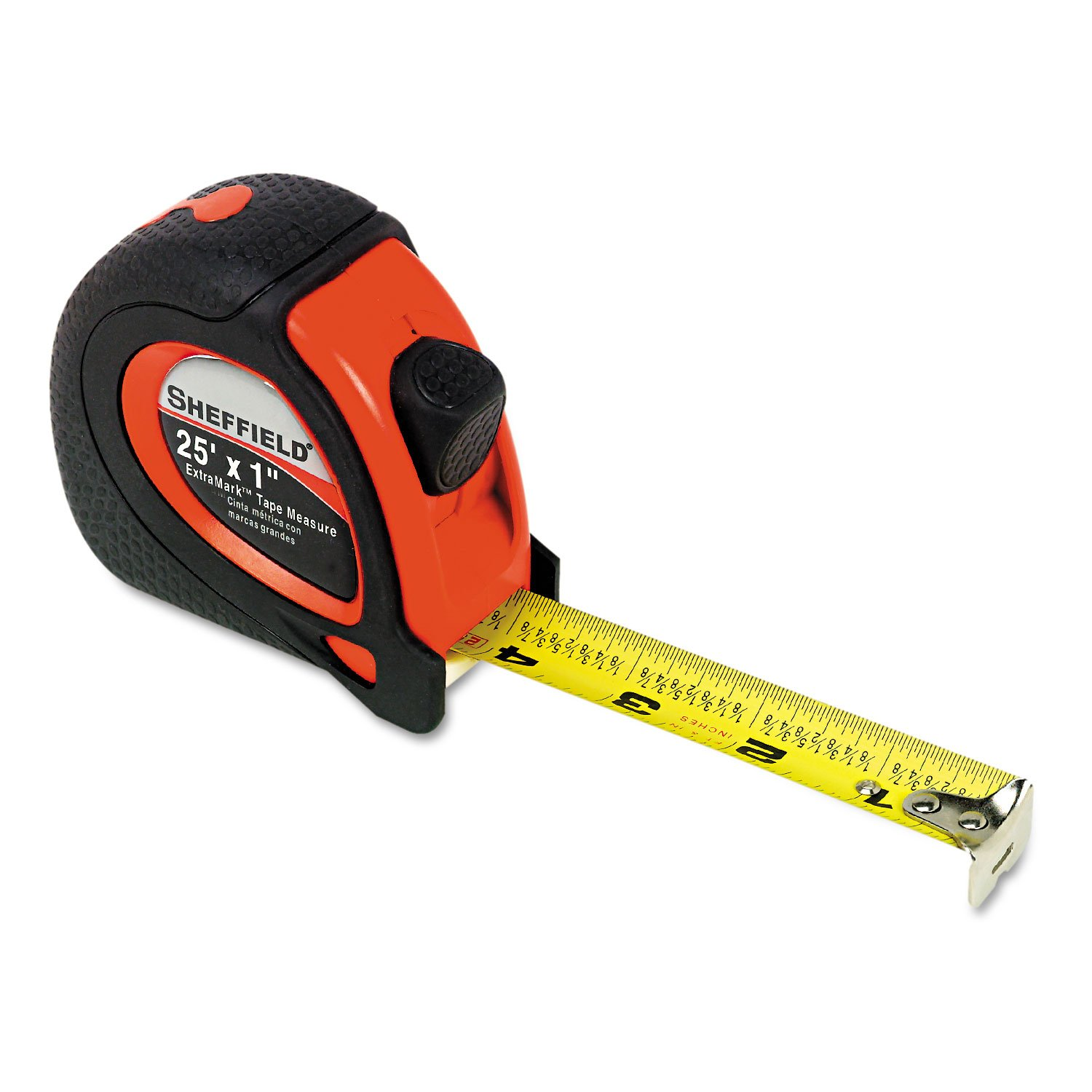 Great Neck 58652 Sheffield ExtraMark Tape Measure, Red with Black Rubber Grip, 1'' x 25 ft