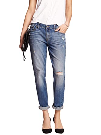 a37606d9cb549 Image Unavailable. Image not available for. Color: Banana Republic Women's  Destructed Girlfriend Jean ...