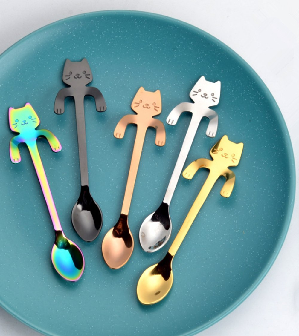 4PCS Coffee Spoon Stainless Steel Cat Dessert Spoon Drink Spoons Mixing Spoon BarSoul