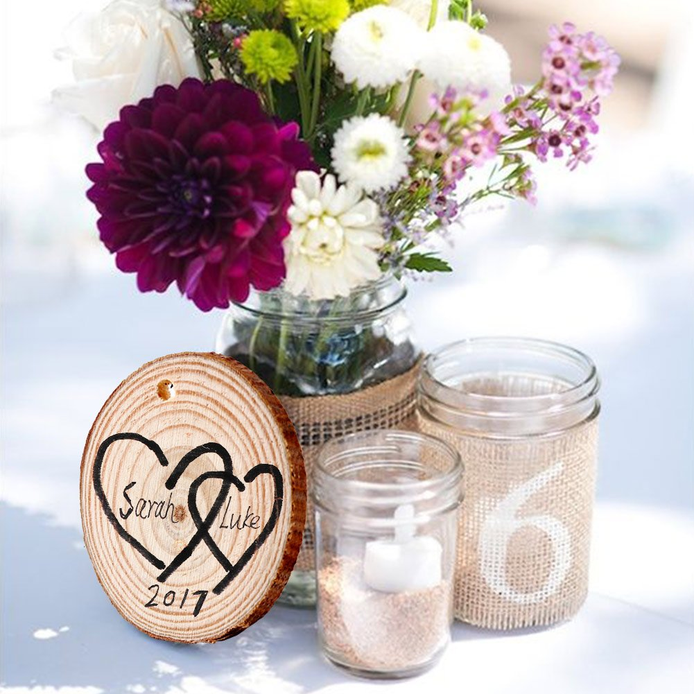 AerWo 50pcs Hanging Wood Slices + 50pcs Twines, Unpainted Natural Round Blank Wood Slices, DIY Craft Rustic Wedding Decoration Vintage Wedding Ornaments by AerWo (Image #6)