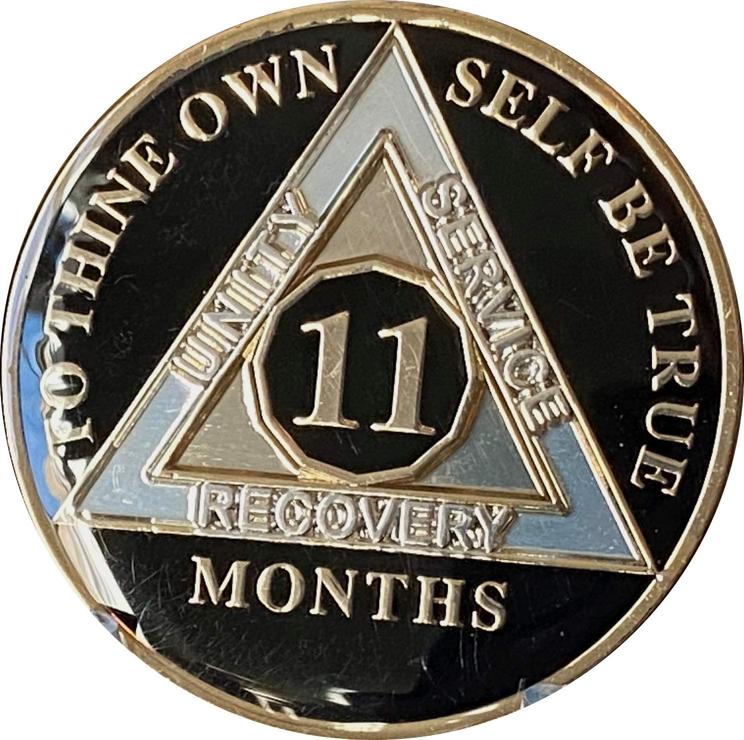 Ranger Industries 11 Month AA Medallion Glossy Classic Black Sobriety Chip