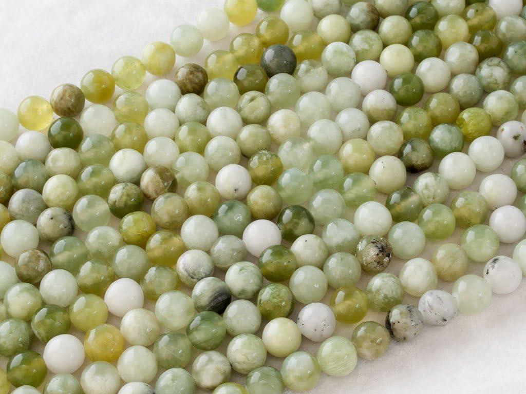 Beads Ok, Abalorios Cuentas Piedra Semipreciosa Jade Verde Rusa Naturales Esferas Bola Redonda 6mm, Cerca de 38cm un Tira, Vendido por Tira. 6mm Round Natural Russian Green Jade Gemstone Beads
