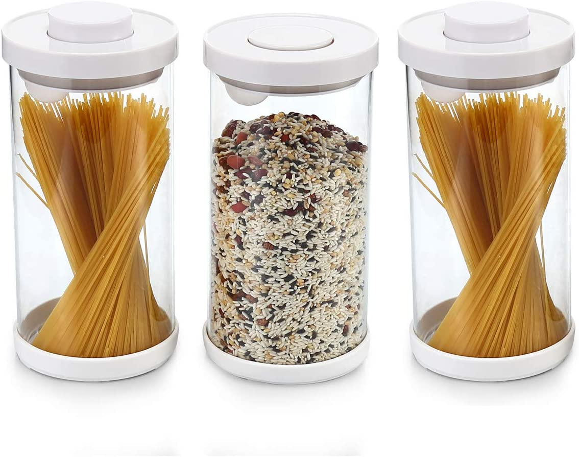 Vencer Set of 3 Sized 58 oz (1.7L) POP UP Glass Food Canister Set with Airtight Lids and Spoon,Equipped with anti-Slip Silicone Pad, Coffee, Pasta, Flour for Kitchen, VFO-023