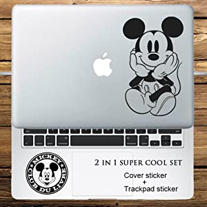 "Circle Love Computer Decals 2 In 1 Cover Sticker + Trackpad Sticker Set Mickey Mouse Vinyl Laptop Decal Sticker For Macbook Pro Air Retina 11"" 12"" 13"" 15"""