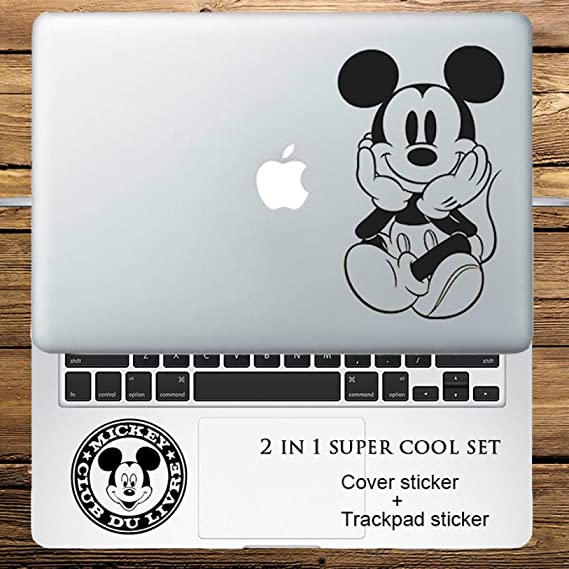 Circle Love Computer Decals 2 In 1 Cover Sticker + Trackpad Sticker Set Mickey Mouse Vinyl