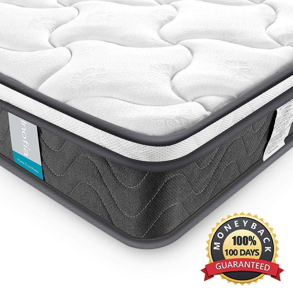 Inofia Queen Mattress, Super Comfort Hybrid Innerspring Double Mattress with Dual-Layered Breathable Cool Cover, CertiPUR-US Certified, 8
