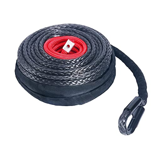 "YaeTek 92' x 1/2"" Synthetic Winch Rope Line Cable with Protective Sleeve and Rock Heat Guard 22000lbs Compatible with Jeep Truck ATV UTV Van SUV KFI"