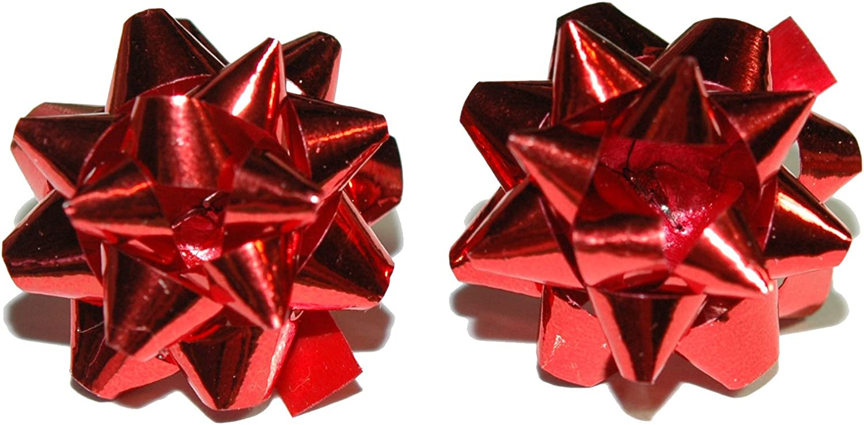 Mini Red Foil Christmas Bow Clip On Earrings H352clip