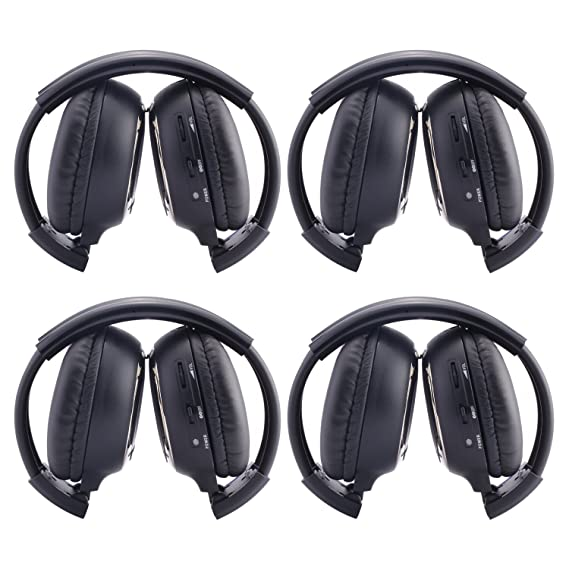 Ouku®4 Pack of Two Channel Folding Rear Music Entertainment System Infrared Headphones Wireless IR