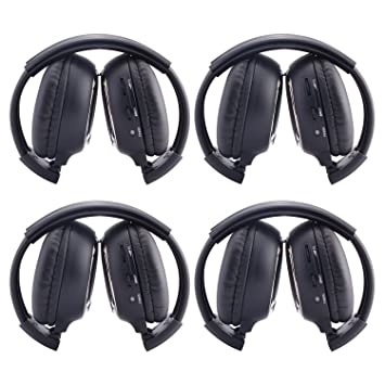 Ouku®4 Paquete de dos canales plegables Sistema de entretenimiento de música trasero Auriculares infrarrojos