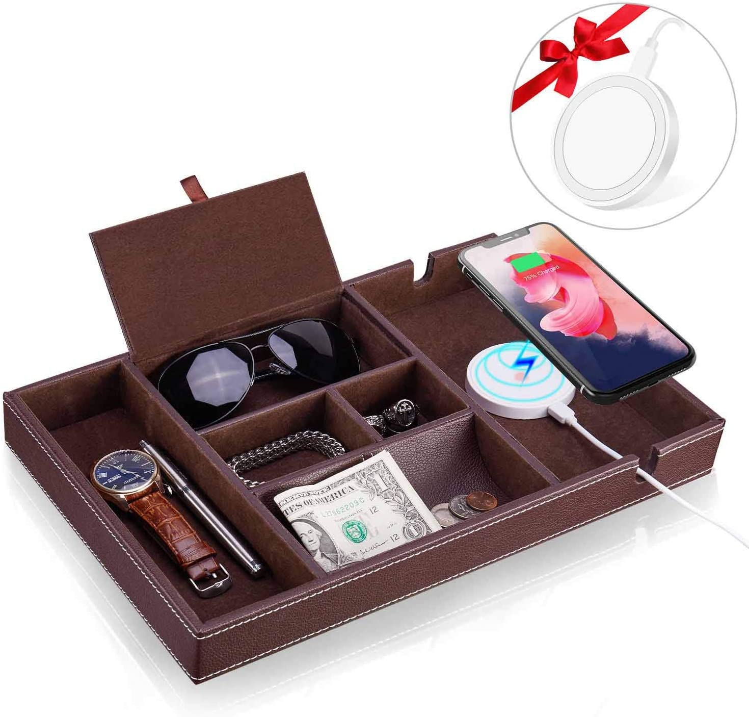 Baoyun Mens Valet Tray Organizer: Leather Catchall Tray with lid 6 Compartments Wallet Key Phone Organizer Tray with Wireless Charger and Men Charging Station Valet Tray Nightstand Organizer,Brown