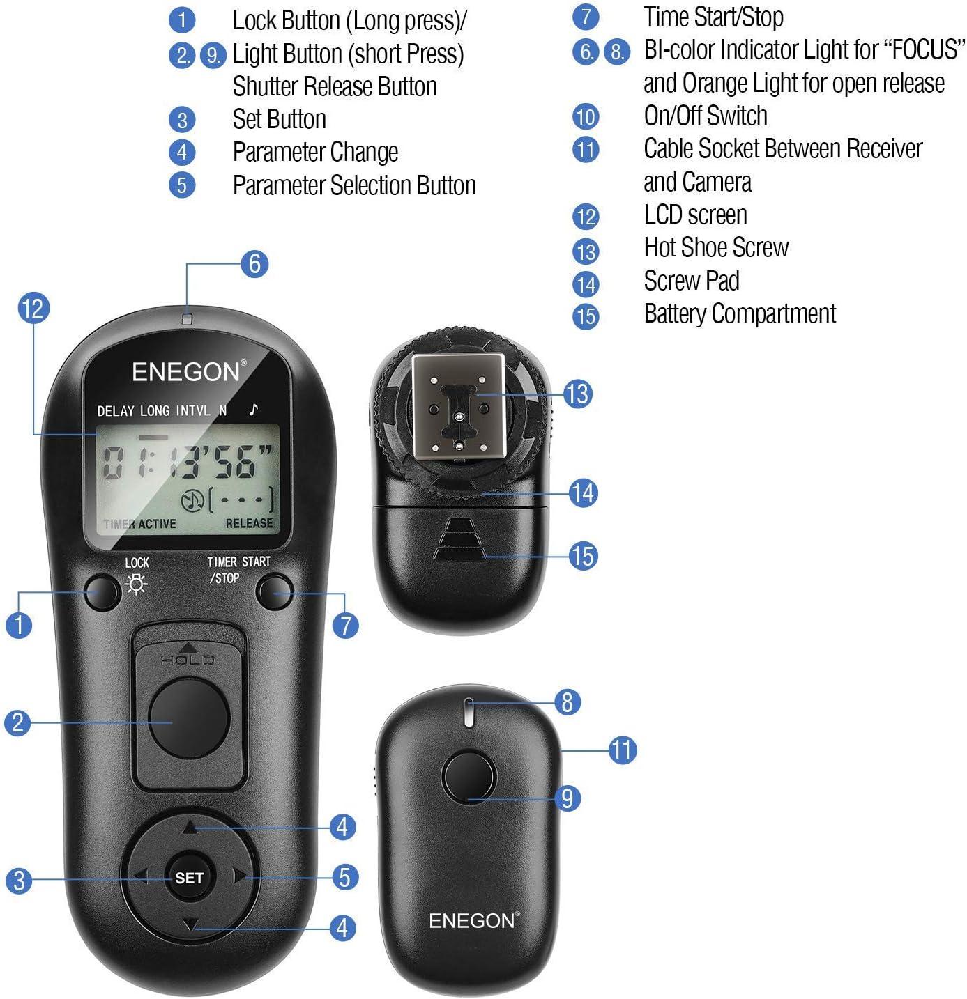 Contr/ôleur de d/éclencheur de cam/éra ENEGON-T/él/écommande D/éclencheurs sans Fil C/âble de d/éclenchement pour Nikon D7000 D7100 D7200 D5100 D3100 D750 D850 D810 D700 D500 D3 D4 D5 D4s N90s et Plus