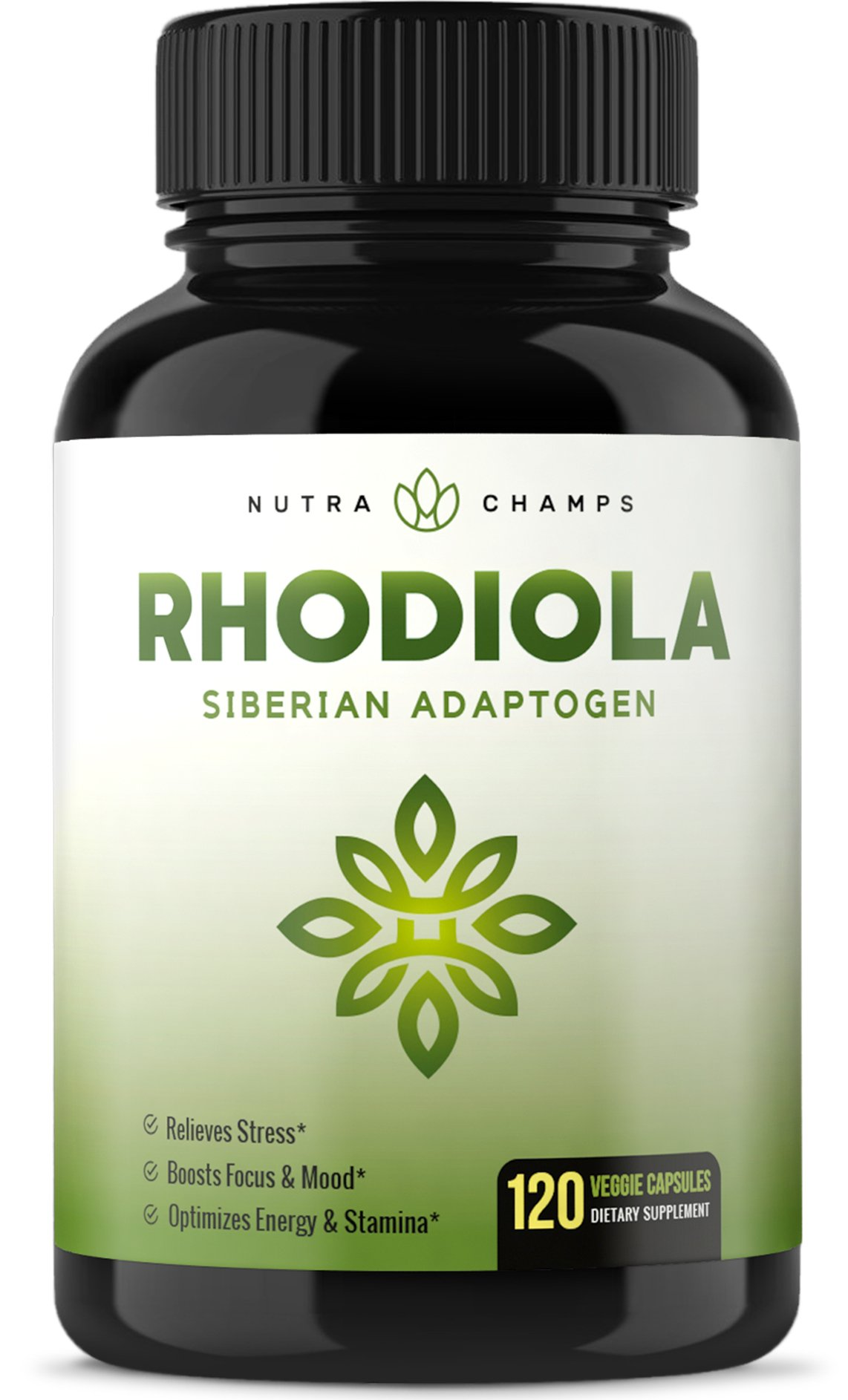 Rhodiola Rosea Supplement 600mg - 120 Capsules Siberian Root Extract 3% Rosavins & 1% Salidroside - Pure Maximum Strength Powder - 300mg Vegan Pills for Stress Relief, Mood, Focus & Energy by NutraChamps