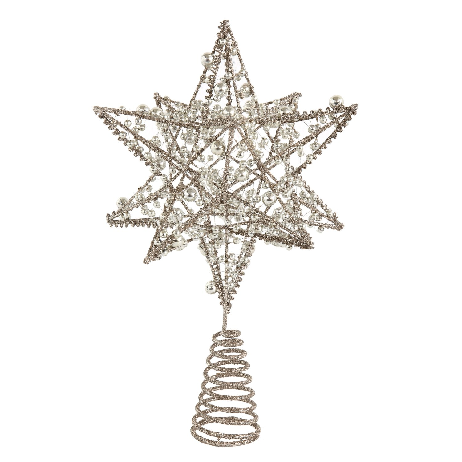 3D Beaded Silver Star Christmas Tree Topper - Tree Ornament Holiday Decoration
