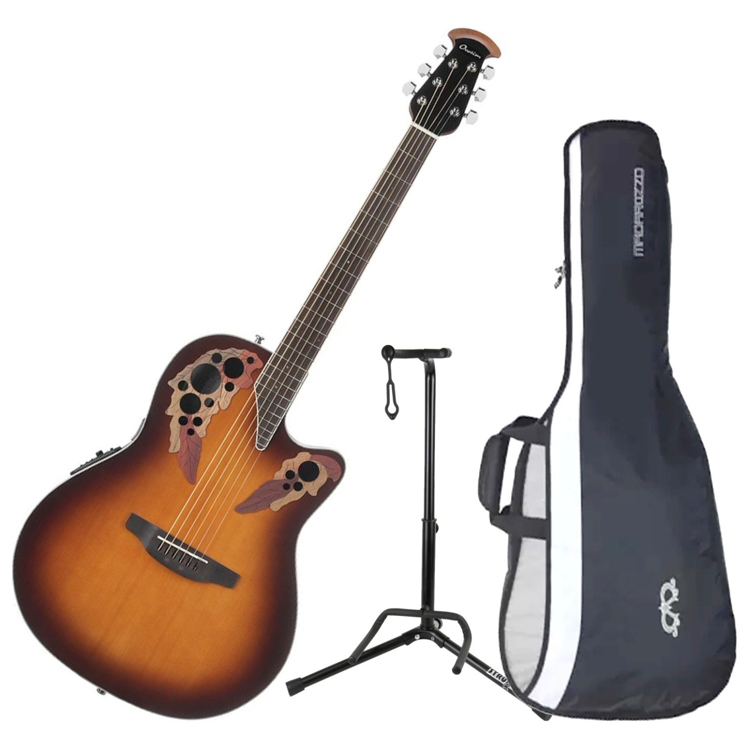 Ovation CE48-1 Celebrity Elite Super Shallow Sunburst Acoustic/Electric Guitar with Gig Bag and Guitar Stand by Ovation