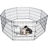 Pet Playpen Dog Fence Foldable Exercise Pen Yard for Cats Rabbits Puppy Indoor Outdoor - 60cm Black