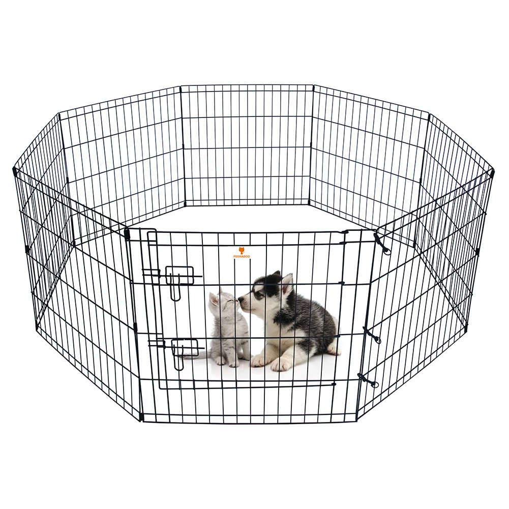 PEEKABOO Pet Playpen Dog Fence Foldable Exercise Pen Yard for Cats Rabbits Puppy Indoor Outdoor - 24'' Black