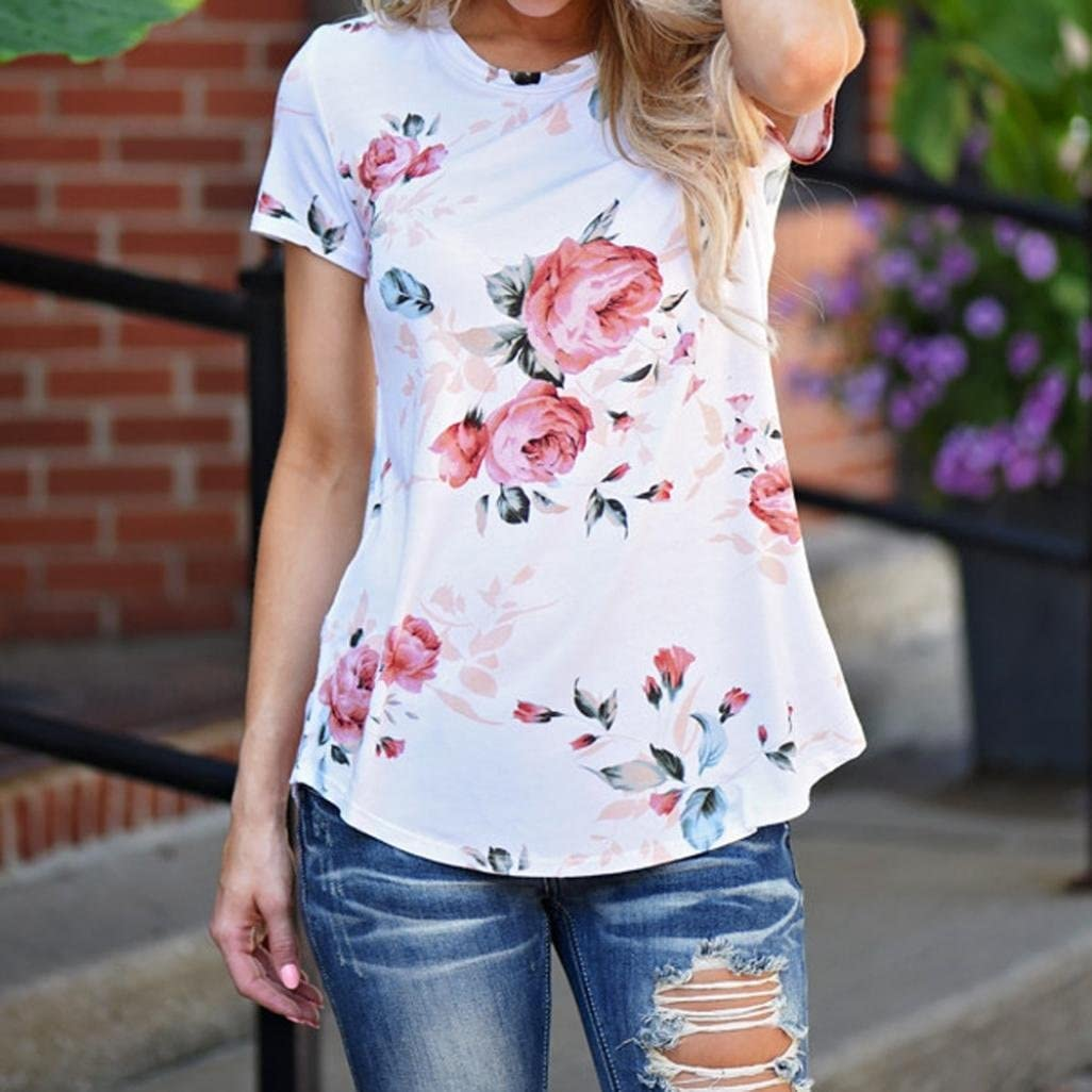 Sumen Women Short Sleeve T Shirt Floral Printed Blouse Casual Tops