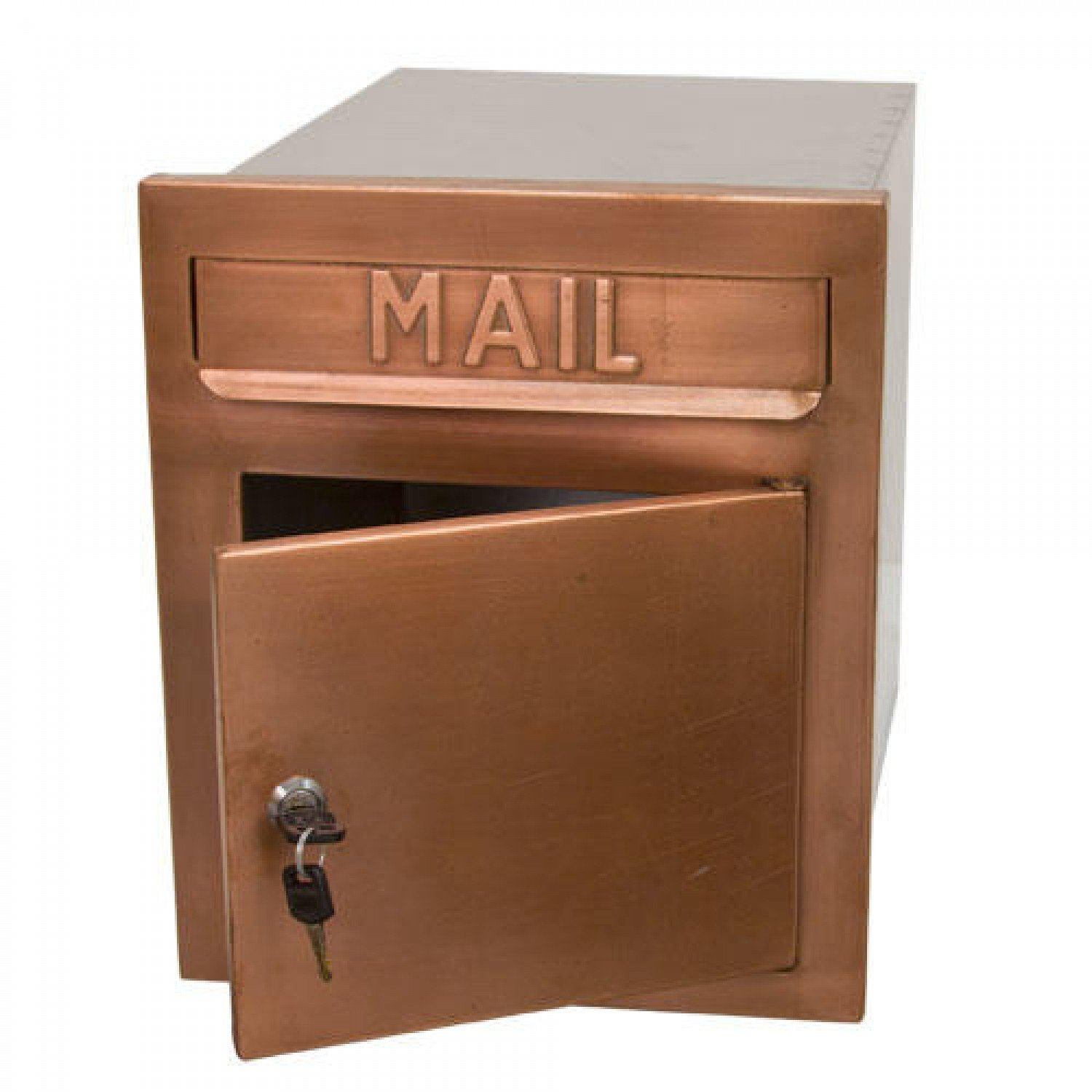 Naiture Copper Recessed Locking Wall-Mount Mailbox in Antique Copper Finish