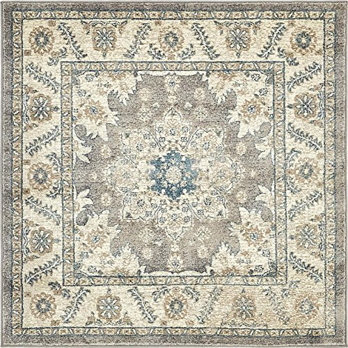 Unique Loom Salzburg Collection Traditional Oriental Gray Square Rug (4' x 4') (Square Rug Gray)