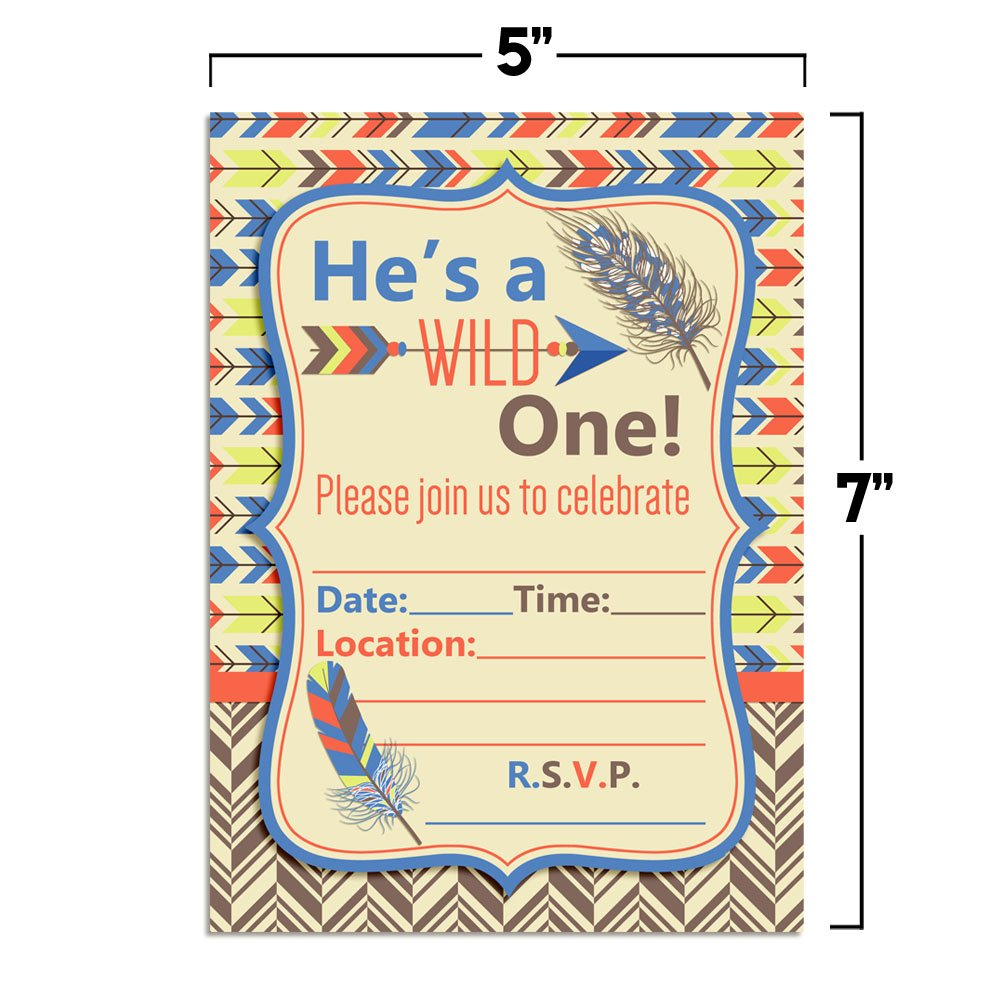 Amazon Wild One Boy Tribal Boho Birthday Party Invitations Fill In 20 5x7 Cards With Twenty White Envelopes By AmandaCreation