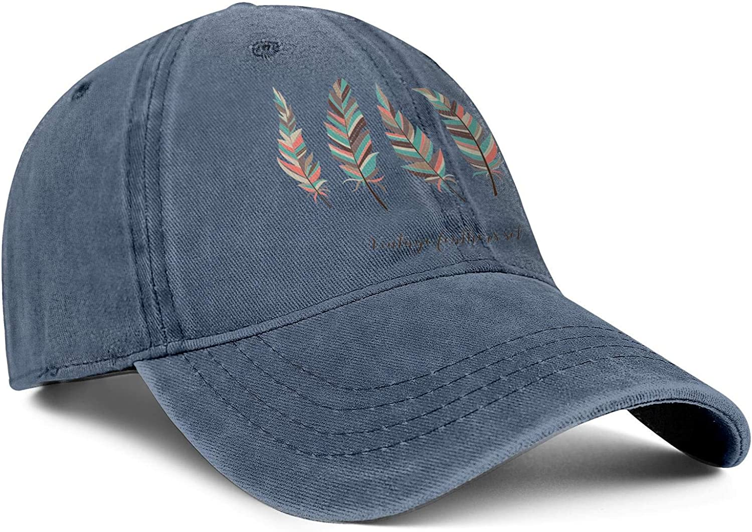 LiyUKo Snapback Hats for Women//Men Five Elegant Feathers Adjustable Style Tennis Hats