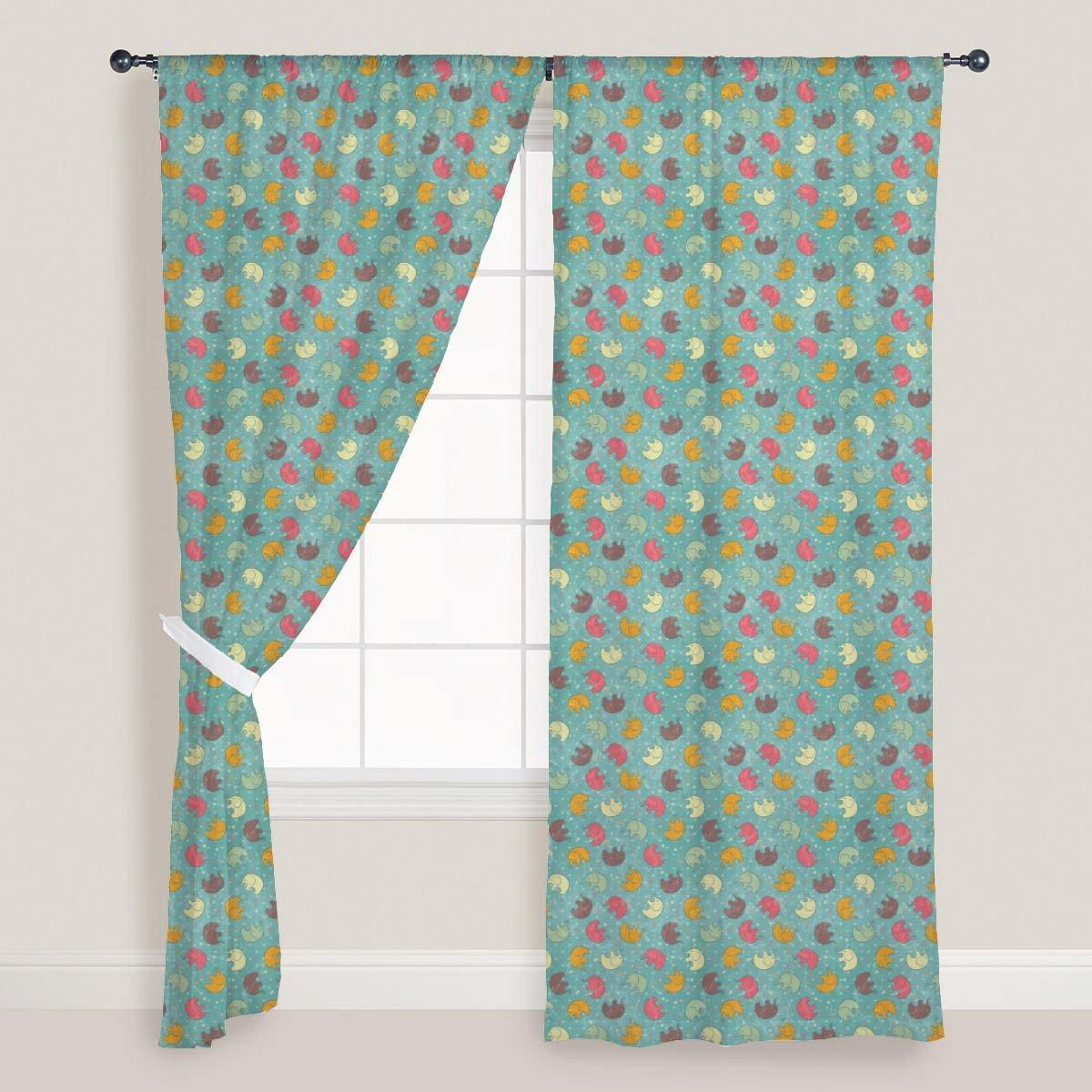 AZ Baby Elephants Door & Window Curtain Satin 4feet x 8feet; SET OF 3 PCS