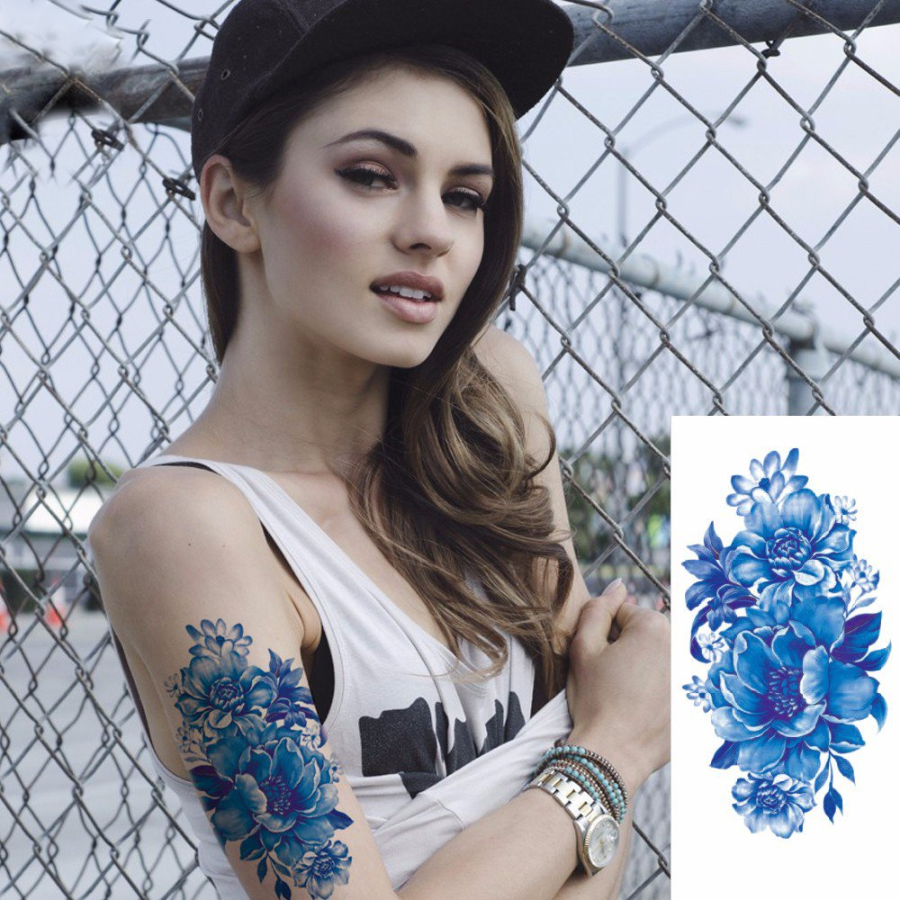 Kotbs 6 Sheets Floral Temporary Tattoo - Over 30+ Tattoos - Sexy Tattoo Sticker for Women & Girl Fake Tattoo (Chrysanthemum, Rose, Peony) by Kotbs (Image #8)