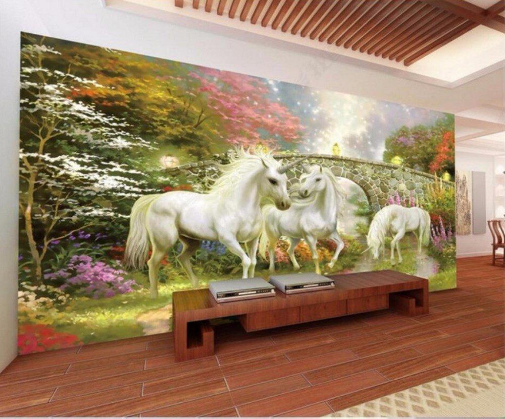Lmopop 3D Habitación Papel Tapiz Bosque Puente Fairyland Unicornio ...