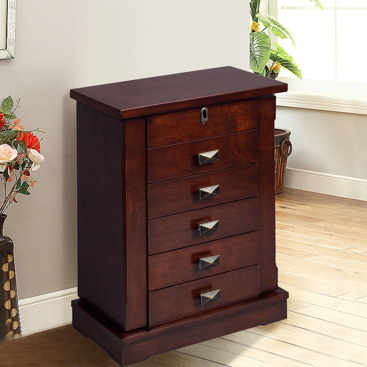 Adumly Armoire Jewelry Cabinet Box Storage Chest Stand Organizer Wood by Adumly (Image #9)