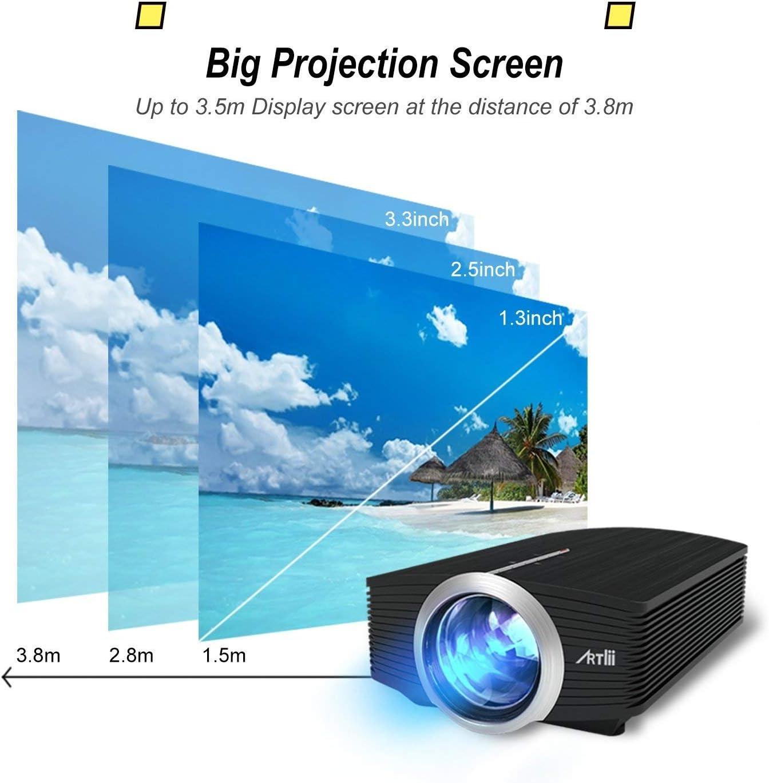 Proyector LED, Artlii Mini Proyector Portatil 1600 Lúmens,800x480 ...